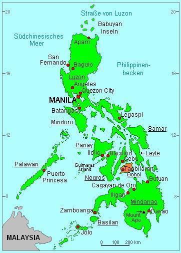 Karte Philippinen.Bohol Wetter Klima Taifune Und Jahreszeiten